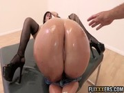 While oiled Sophie Dee licks pussy on wanton Ashli Orion, some man fingers Sophie's apple