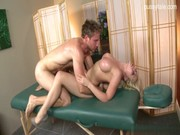 Lovable blond pornstar Madison Ivy tries to give massage, but provides bj and active gash