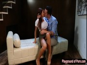 See how big-boobed dark-skinned latina Madison Ivy pleases bf with plating and pounding!