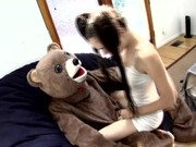 A bear-dressed man makes way to Saha Grey who tries orally and vaginally his swollen sabre