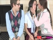 A four-eyed buddy is punishing both ladies, one of whom is Ava Addams and Dillion Harper!