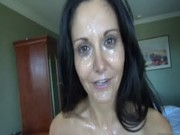 A man is standing all movie long upon tanned mature slut Ava Addams and cumming upon her!