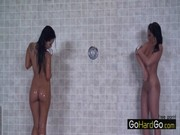 Asa Akira and Devi Emerson are recreating themselves in hot shower, kissing vaginas & body