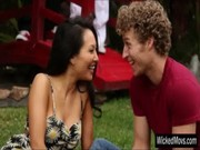 Asa Akira goes talking with some curly hair body, after that goes indoor with him and fuck