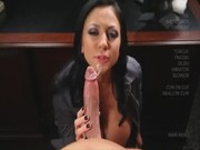 Office tramp stamp Audrey Bitoni risks to be blowing CEO's missile during coffee break...