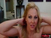 Super naughty Julia Ann gets undressed outside and when inside goes doing hot gamaroosh...
