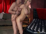 Kagney Linn Carter performs amazing blowjob to client and rides on his mighty paratrooper!