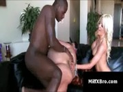 While blonde is caressing juicy body of Angelina Castro, black baron is fucking her nicely