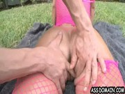 Bring oiled Jada Stevens on the rug to garden, finger her booty a bit, & she'll suck tool