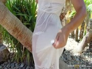 Blonde Bridgette B comes to her lover to garden and tastes his dick, riding on it later on