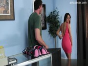 Nasty babe in red Kortney Kane comes to the cloth shop to buy dress, but blows arm instead