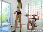 Nice tramp stamp Kortney Kane has no desire to train in gym alone, coz she has such buddy!