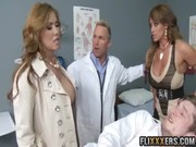 A consilium between two busty babes and doctor for patient results in attractive milky way