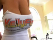 Going to the gym is no good for Kelly Madison, but playing with model & man in bed is OK )