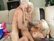 Sex-minded Dayna Vendetta and awesome bitch-blonde is entertaining with muscled gangster!