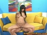 Amazing tanned sweetheart Angelina Valentine is going nuts about the size of this bazooka!