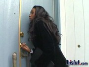 Incredible bitch Nyomic comes to her black chum and makes the hottest fucking with him! )