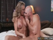 Amazing older blond-cougar Brandi Love allows bald guy to do all he wants about her flesh)