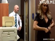 Company boss Brandi Love visits different guys in her office, checking how they go off nut