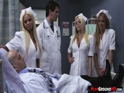 Three porn nurses try their hardest to tempt this doctor and his sick patient! )