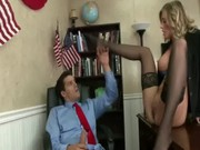 A sexy sexetary ib black stockings Samantha Saint is practicing railing in office with him