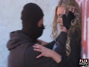 A burglar in black mask is pushing Samantha Saint to the wall and humping cheeky slattern