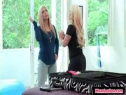 A youthful lezzo sister and blonde Dyke Daughter learns all about love from Holly Halston