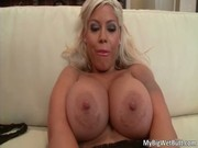 Awesome beauty and cool mistress Bridgette B just lying on sofa and rejoicing at pounding