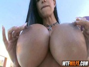 See how large and attractive her titties are! Jewels Jade is caressing her appetite tits!