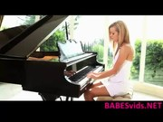 A sexxxy blonde Jessie Rogers is sitting at the piano and having sex with teacher later on