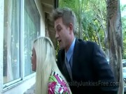 An adult male and his blond porn assistant are teaching Faye Reagan to have a knick-knack