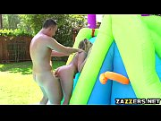 Kagney Linn is leaning upon green tent outdoors and rejoicing at her twat, being screwed!