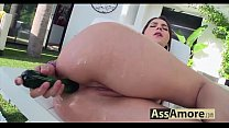 I can't believe, but Valentina Nappi is pounding her widely opened asshole with a dildo!