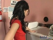 Rebeca Linares came to bring dirty linen to laundry, but had her mouth and pink pussy done