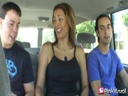 Pretty bitch Monique Fuentes rides on car with two guys and makes sex with them later on!