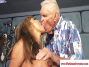 This older age fucker is kissing Ava Devine, pushing his thing into her mouth & pleasing!