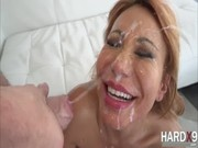 Ava Devine sucks off Long Dong Silver, and this beauty swallows all cums she gets from him