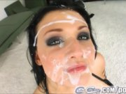 Aletta Ocean not only swallows a long penis and has all her face, smeared with splooge!